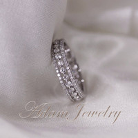 1.1ct Diamonds Ring/ Engagement Ring 14k White Gold Wedding Ring/ Full Eternity Band/  Anniversary Ring