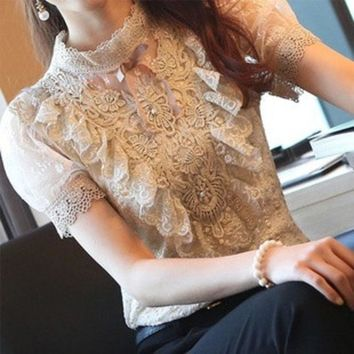 PEAPIX3 2013 spring and summer basic shirt stand collar royal bubble short-sleeve slim chiffon lace shirt female
