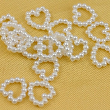 (Size1 = Heart, Size 2 = Bowknot, Etc..)200Pcs Faux Pearl Heart/Rectangle Different Shape Beads for Wedding Scrapbooking Craft 11mm X 11mm [7983577543]