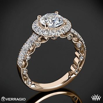 20k Rose Gold Verragio Dual Row Pave Diamond Engagement Ring