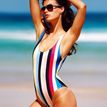 DCCKB62 HOT ONE PIECE RAINBOW STRIPE SWIMWEAR BATH SUIT