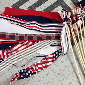 12 Patriotic Wands Parade Waving Streamer Bell Wand 4th July Party Favor Red White & Blue Military Wedding Send Off Summer Table Decor