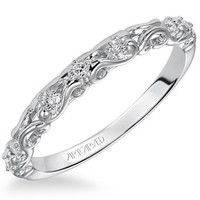 "Artcarved ""Ruby"" Antique Style Diamond Scrollwork Wedding Band"