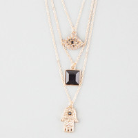 Full Tilt Hamsa 3 Row Necklace Gold One Size For Women 25593062101