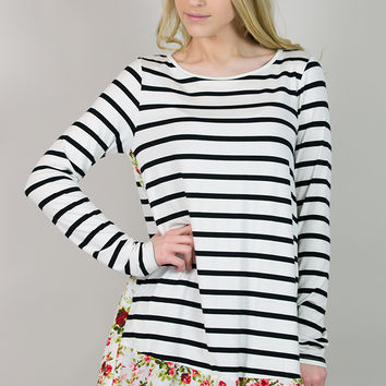 Stripes & Flowers Long Sleeve Tunic