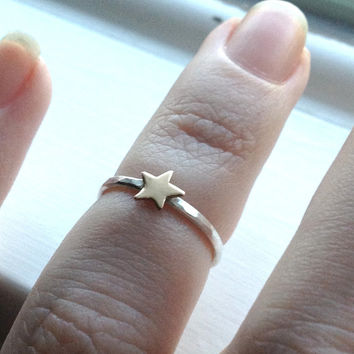 Tiny Gold Star Ring, Midi Ring, Knuckle Ring, Over The Knuckle Ring, Sterling SIlver Stacking Ring,