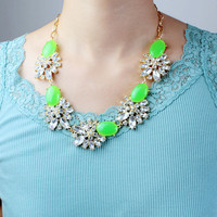 Green Gem Crystal Necklace,Jeweled Women Choker,Spring Summer Gift Necklace,Gift for Her