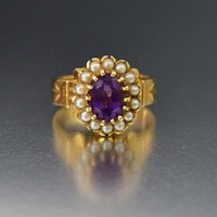 Superb 14K Gold Amethyst Pearl Halo Ring w Appraisal