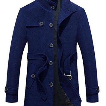 Men's Classic Single Breasted Stand Collar Slim Long Woolen Coat with Belt