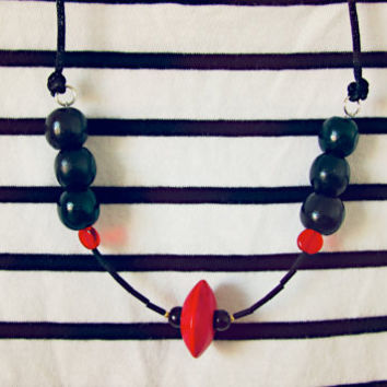 Red and Black Necklace - Glass and Wooden Beads Statement Necklace - Fiery Red and Glossy Black - Art Deco Minimalist Contrasting Colours