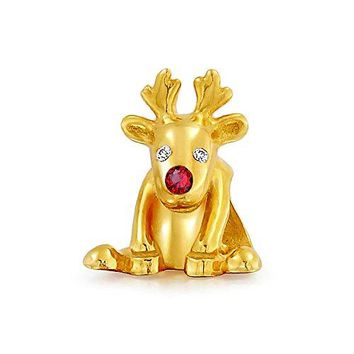 Gold Plated Reindeer with Red Nose Christmas Holiday Charm Bead 925 Sterling Silver