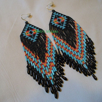 Native American Style Brick stitched Roxanne Bird earrings in Turquoise Blue