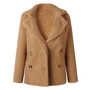 Plus Size Teddy Coat Women Winter Faux Fur Jacket Fuzzy Teddy Bear Notch Lapels Double Breasted Buttons Pockets Oversized Coat