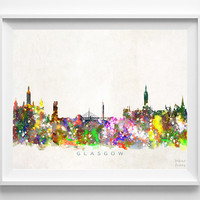 Glasgow Skyline Print, Scotland Poster, Glasgow Wall Art, Cityscape, Watercolor Painting, Giclee Art, Home Decor, Christmas Gift