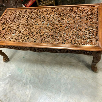 Antique Coffee Table Floral Lattice Hand Carving Teak Wood Table