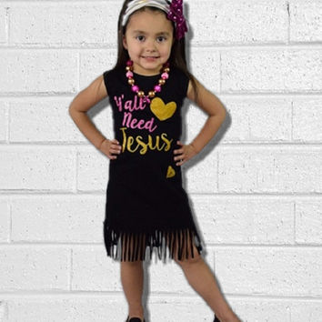 "Baby Girls Fringe Dress Outfit, ""Ya'll Need Jesus"", Kids Clothes, Baby Girl Outfit, Toddler Girl, Summer, Sun Dress, Childrens, Summer"