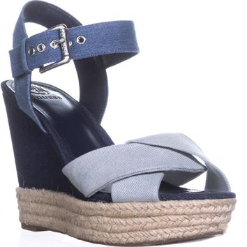 Guess Sanda Ankle Strap Wedge Sandals, Blue Multi, 8 US
