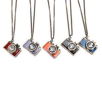 Big Vintage Camera Pendant Necklace Antique Brass/Silver Long Chain HU
