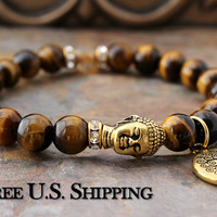 Lucky Tiger Eye Buddha Bracelet, Tree of Life, Tiger's Eye, Buddha Jewelry, Spiritual Bracelet, Spiritual Jewelry, Swarovski Yoga Bling