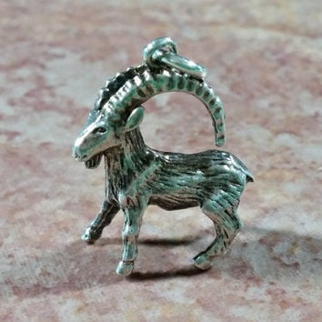 Vintage Silver Charm Capricorn Ram December 21 - January 19 Birthdays Sea Goat Astrology Zodiac Sign Sign of the Ram Birthday Charm Gift