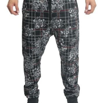 Floral Plaid French Terry Jogger Pants JG719 - F10G