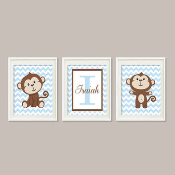 Boy Monkey Nursery Art Decor Monogram Name Baby Blue Chevron Set of 3 Prints Personalized Nursery Art  Picture Wall Art Baby Shower Bedding