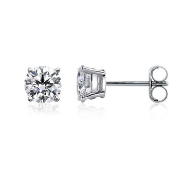 14k White Gold Round Diamond Stud Earrings (0.41 cttw F-G Color, SI2 Clarity)