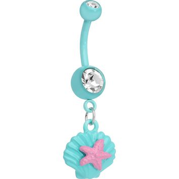 Crystalline Gem Aqua Seashell and Pink Starfish Dangle Belly Ring