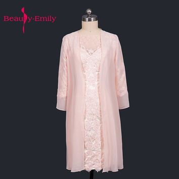 Beauty Emily Champagne Chiffon Mother Of The Bride Dresses 2017 Sheath Scoop Knee Length With Jacket Wedding Party Prom Dresses