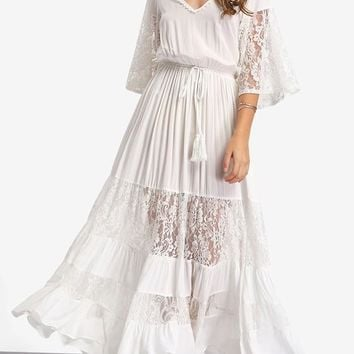 White Patchwork Lace Drawstring Elbow Sleeve Bell Sleeve Elegant Maxi Dress