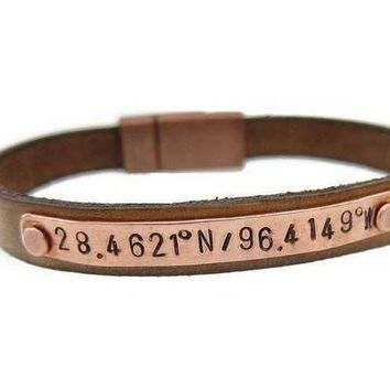 ONETOW Men's Copper Leather Coordinate bracelet