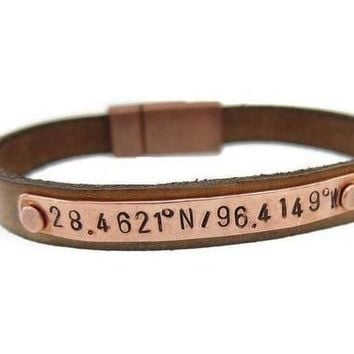 VONE54Q Men's Copper Leather Coordinate bracelet