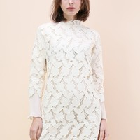 Bloom Like Flowers Crochet Shift Dress in Ivory