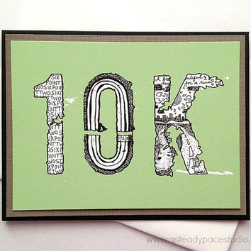 10K Running Zentangle Doodle Handmade 6.2 Greeting Card for Runners (Green) - Run Encouragement, Good Luck, Inspirational, Congratulations