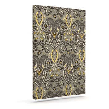 "Suzie Tremel ""Vintage Damask"" Brown Gold Outdoor Canvas Wall Art"