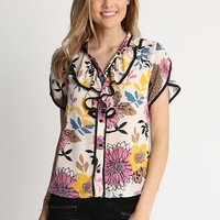 May Floral Print Button Up Top In Ivory | Ruche