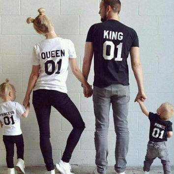 Top King Queen Print Shirt Cotton Mother Daughter father Son Princess Prince