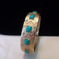 Crawford Turquoise Stone & Star Clamper Bracelet Vintage 21 Jewels Wind Up Hidden Wristwatch Working