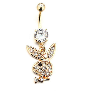 14K Gold Plated Belly Button Rings Red/Black Eyes Rabbit Dangle Navel jewelry With Clear Rhinestone Body Piecering Jewelry (Purple)