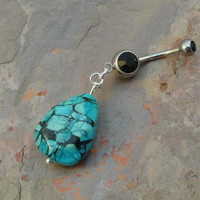 Turquoise Teardrop Gemstone Belly Button Jewelry Belly RIng