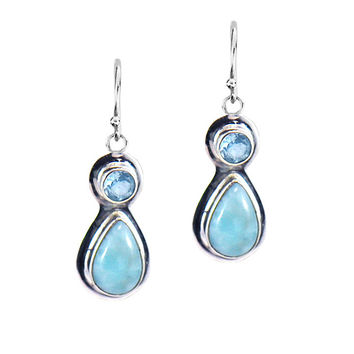 Dominican Larimar and Blue Topaz Earrings in Sterling Silver