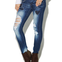 Heart Patched Destroyed Skinny Jean | Wet Seal