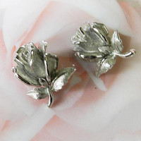Vintage Boucher Rose Leaf Earrings, Silver Flower Clip On Earrings