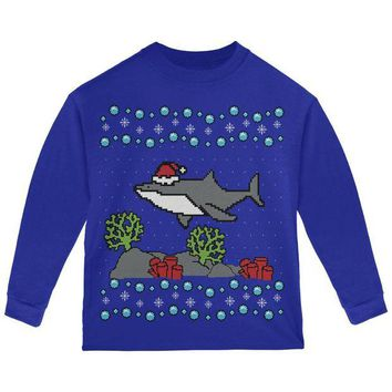 LMFCY8 Ugly Christmas Sweater Shark Santa Hat Toddler Long Sleeve T Shirt