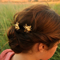Gold Bumble Bee Bobby Pins-ready to ship. Woodland Brass Hair Pins Bumble Bee Bobby Pins.