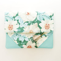 FLORIST 4 / Floral cotton & Leather folded clutch - Ready to Ship