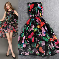Digital Printed Sleeveless High Low Chiffon Mini Dress