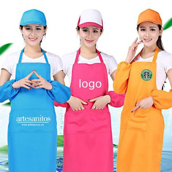 Fashion Unisex Aprons Pocket Chef Home Kitchen Restaurant Nail Coffee Shop Cookware Craft Baking Cooking Print Logo from 10 pcs