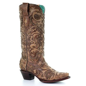 Corral Cognac Overlay Embroidery & Studded Boots