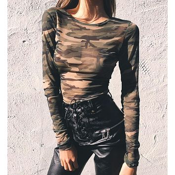 Camo long sleeved shirt T-shirt